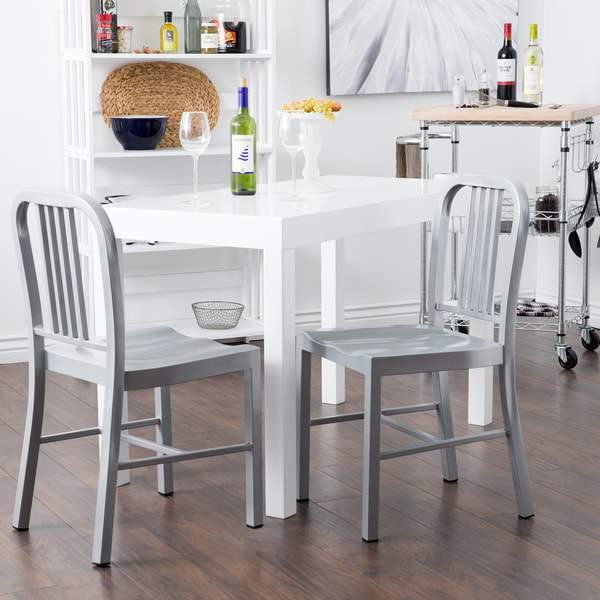 Steel Silvertone Dining Chair Set Of 2