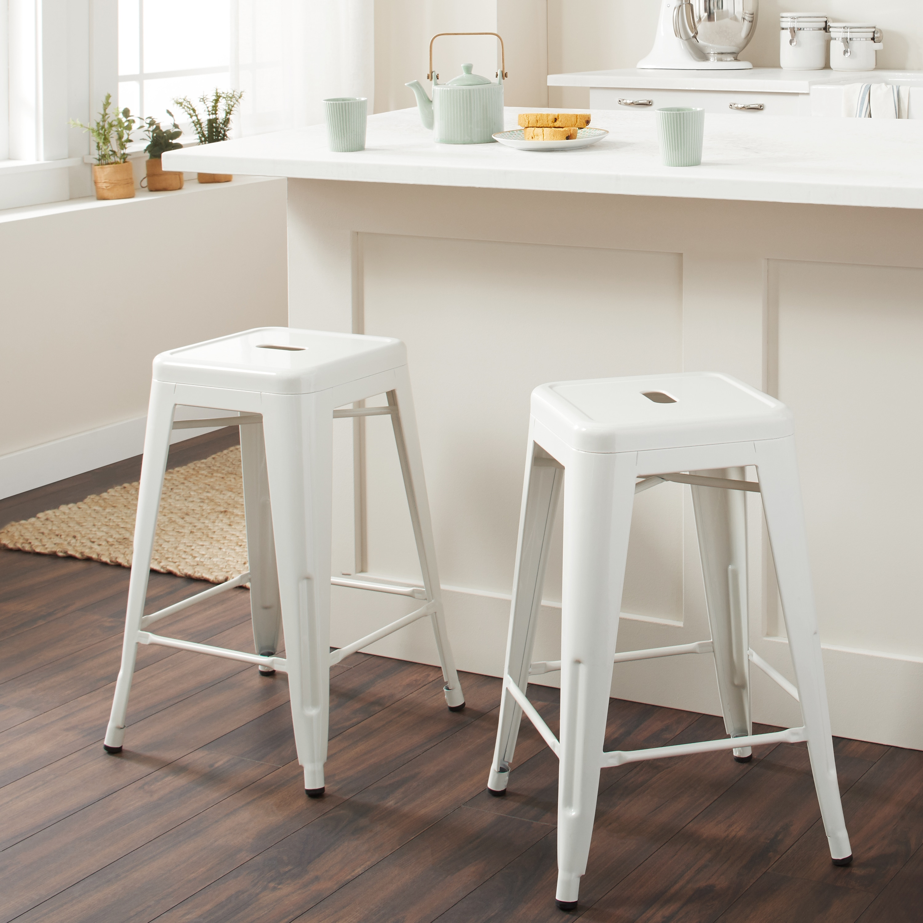 Tabouret 24 Inch White Metal Counter Stools Set Of 2 Ebay