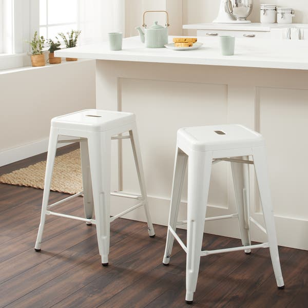 24 Inch White Metal Counter Stools Set