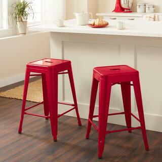 Shop Tabouret 30 Inch Red Metal Bar Stools Set Of 2