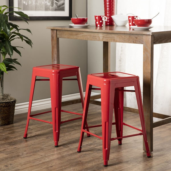 Tabouret 24 Inch Red Metal Counter Stools (Set Of 2)