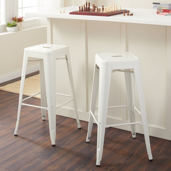 Tabouret 30 Inch White Bar Stools Set Of 2