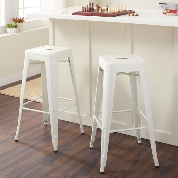 Stupendous Shop 30 Inch White Bar Stools Set Of 2 Free Shipping Andrewgaddart Wooden Chair Designs For Living Room Andrewgaddartcom
