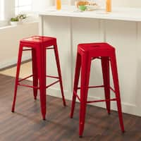Carbon Loft Tabouret 30-inch Red Metal Bar Stools (Set of 2)