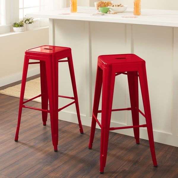 Carbon Loft Tabouret 30-inch Red Metal Bar Stools (Set of 2) - Free ...