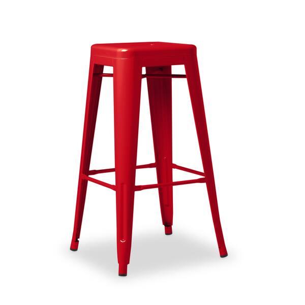 Awe Inspiring Shop I Love Living 30 Inch Red Metal Bar Stools Set Of 2 Pdpeps Interior Chair Design Pdpepsorg