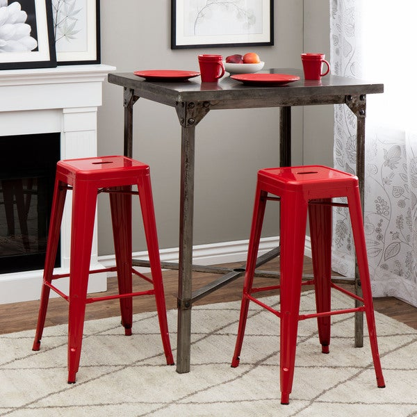 Tabouret 30 Inch Red Metal Bar Stools Set Of 2 Free
