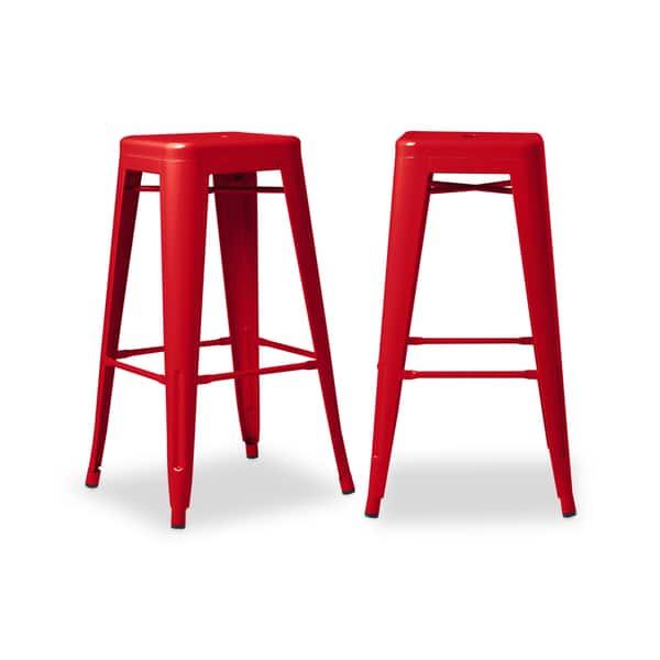 Superb Shop I Love Living 30 Inch Red Metal Bar Stools Set Of 2 Pdpeps Interior Chair Design Pdpepsorg