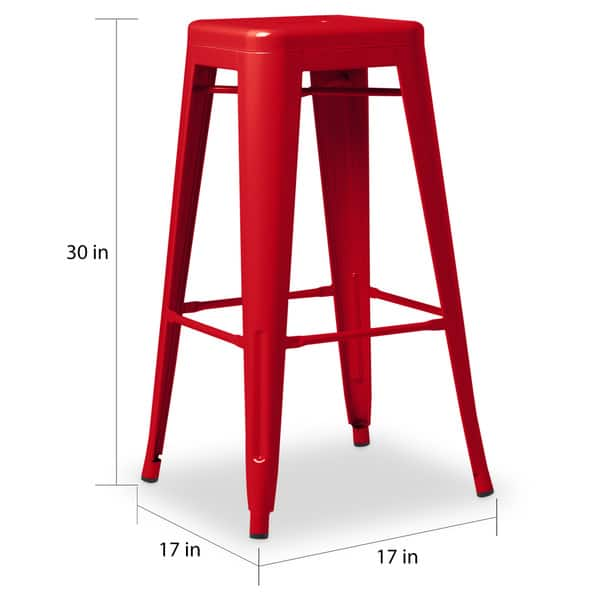 Awesome Shop I Love Living 30 Inch Red Metal Bar Stools Set Of 2 Uwap Interior Chair Design Uwaporg