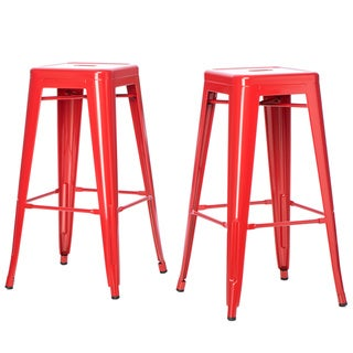 Tabouret 30-inch Red Metal Bar Stools (Set of 2)
