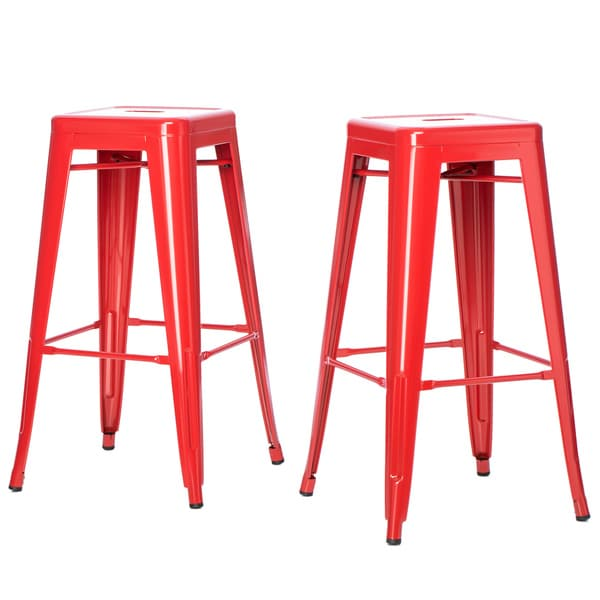 Tabouret 30 Inch Red Metal Bar Stools Set Of 2 Free Shipping Today Over