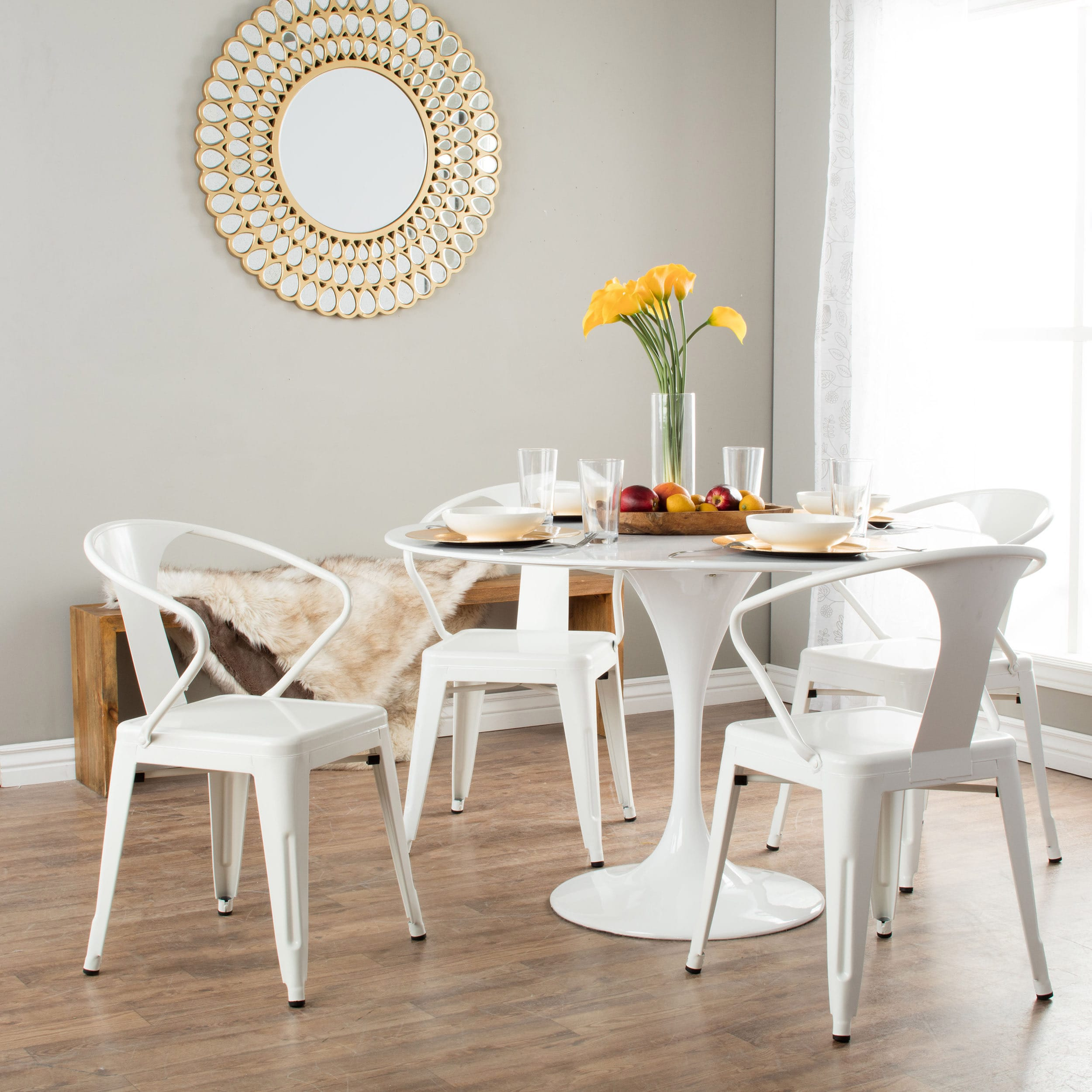 Tabouret Chairs Round Table - White tabouret stacking chairs set of 4