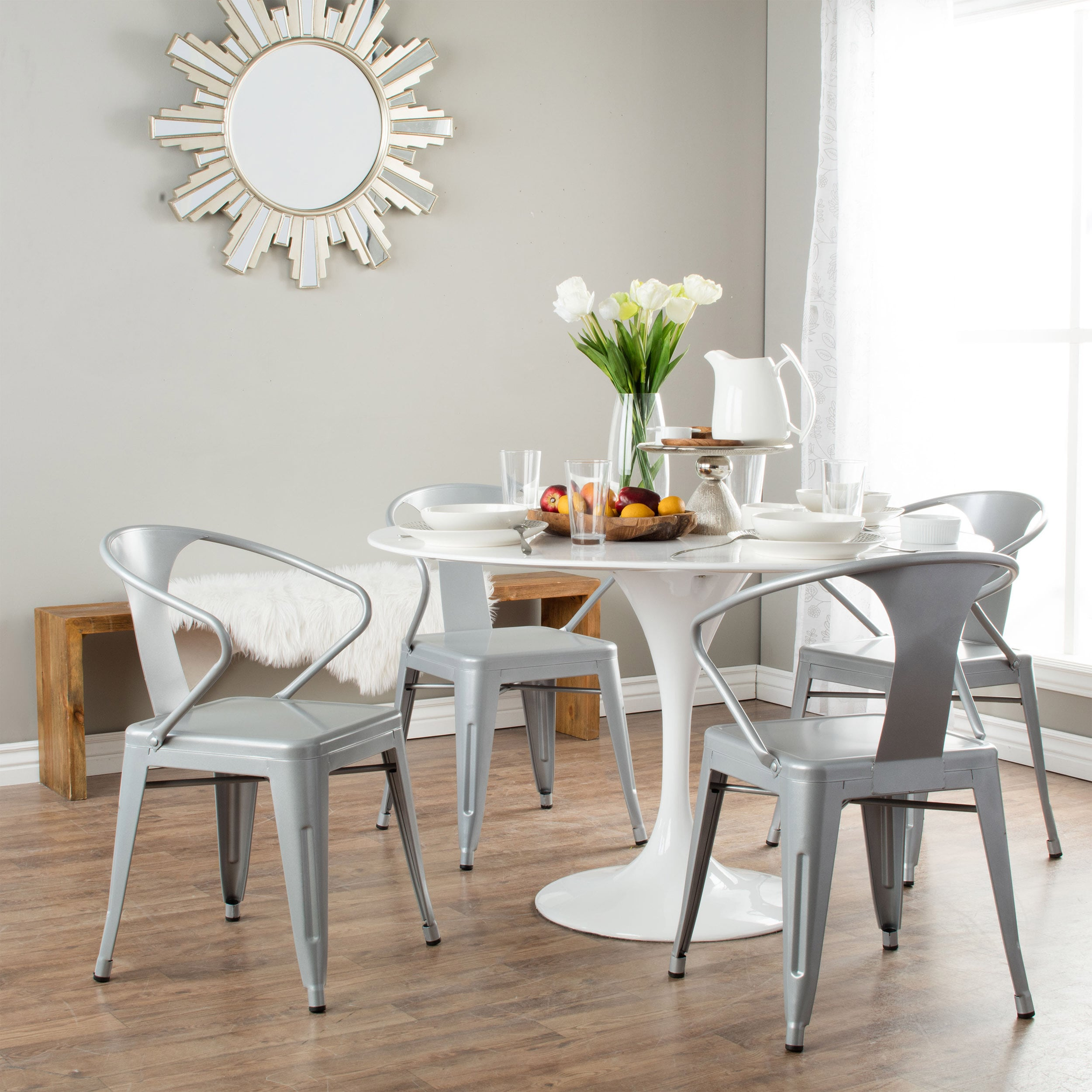 Silver Stacking Chairs Set Of 4