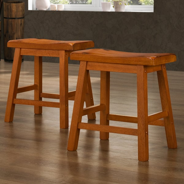 Tribecca Home Salvador Saddle Back 18 Inch Oak Stools Set