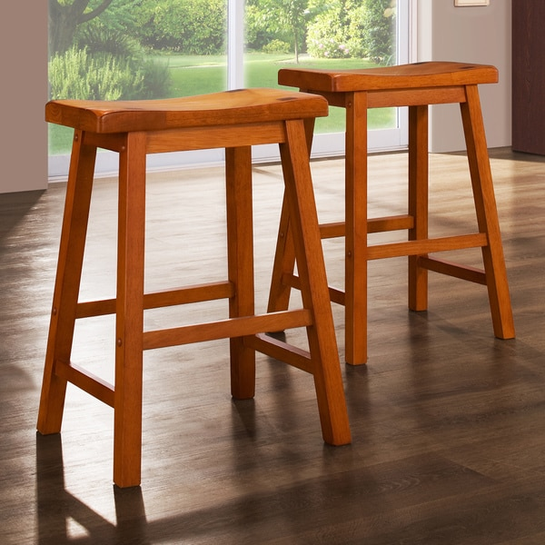 Shop Tribecca Home Watson 24 Inch Counter Height Chair: Shop TRIBECCA HOME Salvador Saddle Back 24-inch Oak Stools