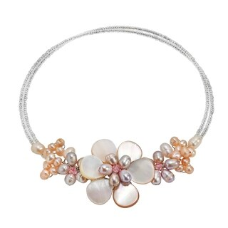 Handmade Pink Pearl Flower Choker Necklace (Thailand)