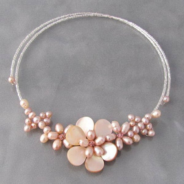 Pink Pearl Flower Choker Necklace (Thailand)