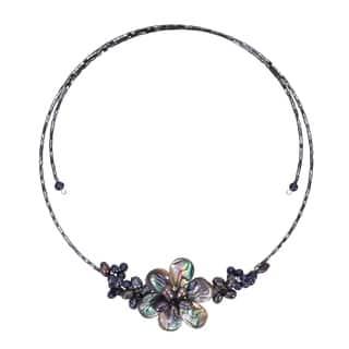 Handmade Memory Wire Black Pearl Cluster Flower Choker (Thailand)|https://ak1.ostkcdn.com/images/products/5096468/P12950779.jpg?impolicy=medium