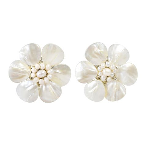 Handmade White Mother of Pearl Flower Clip on Earrings (Thailand)