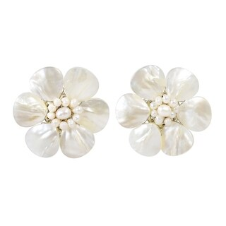 Handmade White Mother of Pearl Flower Earrings (Thailand)