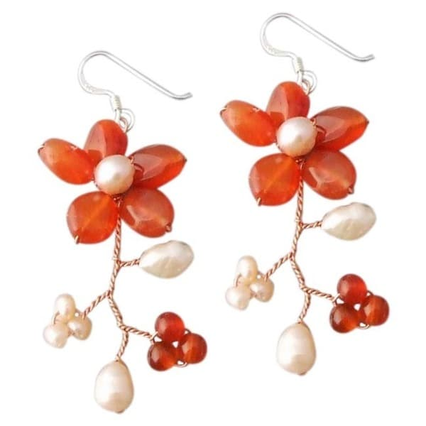 Handmade Silver and Copper 'Dreamy Sakura Flower' Agate and Pearl Earrings (Thailand)