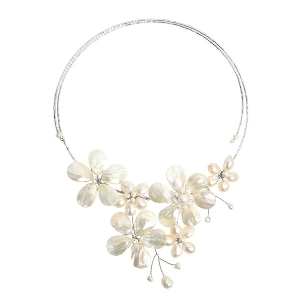 Handmade Multi Flower White Pearl Cluster Choker Wrap Necklace (Thailand)
