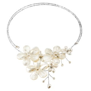 Handmade Multi Flower White Pearl Cluster Choker Wrap Necklace (Thailand) - Off White