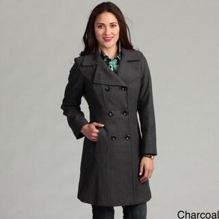 Anne Klein Women's Inset Waist Wool Blend Coat