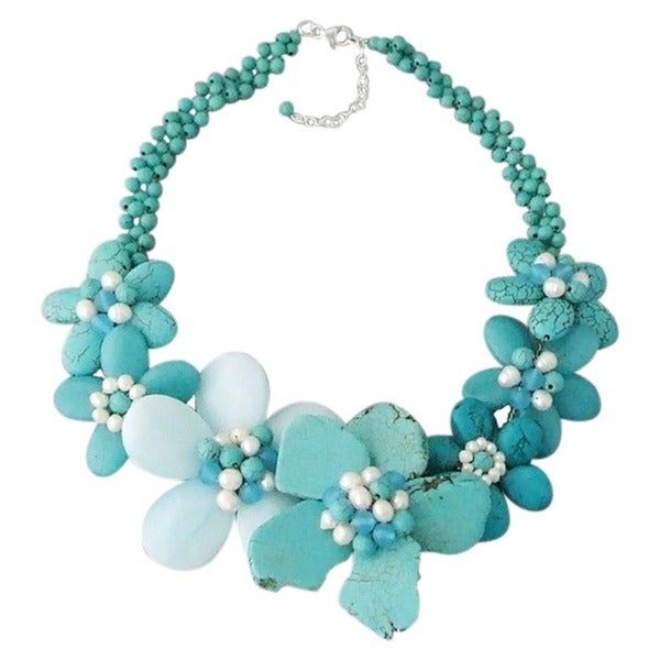 Handmade Turquoise/ Chalcedony Flower Necklace (Thailand)