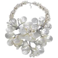 Handmade Sterling Silver Pearl and Mother of Pearl Colossal Floral Necklace (Thailand)