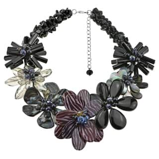 Handmade Black Agate, Smokey Quartz and Mother of Pearl Necklace (Thailand)|https://ak1.ostkcdn.com/images/products/5096715/P12950936.jpg?impolicy=medium
