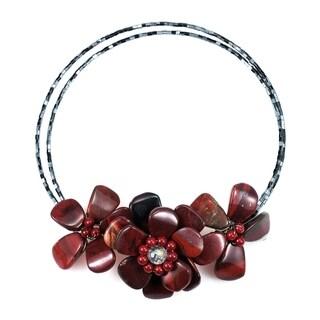 Handmade Triple Flower Jasper Choker Necklace Thailand