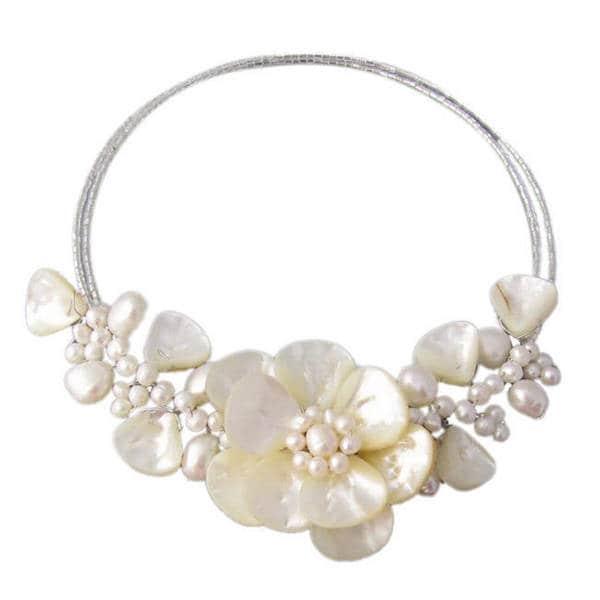 Handmade Memory Wire 'Sakura Flower' Pearl and Mother of Pearl Choker (Thailand)