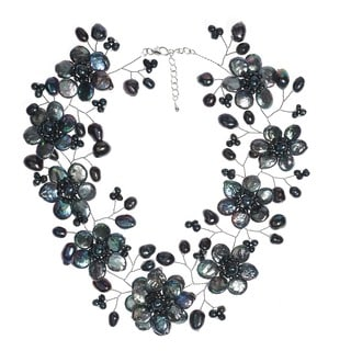 Handmade Sterling Silver Lace Sakura Black Pearl Flower Necklace Thailand