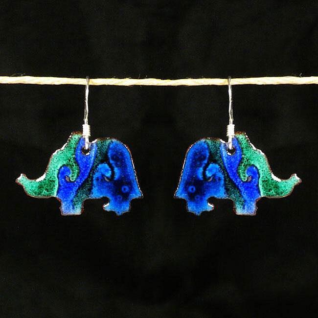 Copper Enamel Elephant Earrings (Chile)
