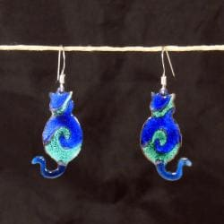 Copper Enamel Cat Earrings (Chile)