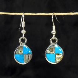 Silver Turquoise and Abalone Round Earrings (Mexico)