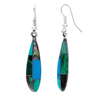 Handmade Silver Turquoise and Abalone Ellipse Earrings (Mexico)