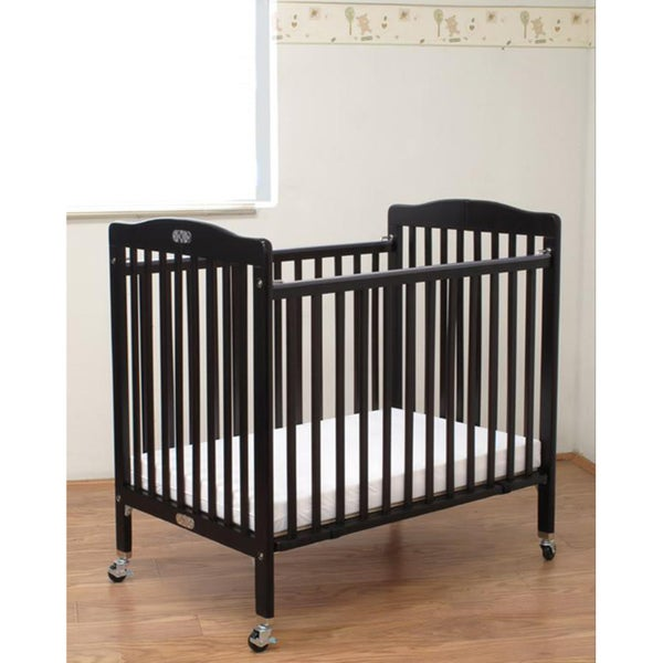 Shop Folding Cherry Wooden Compact Crib With 3 Inch