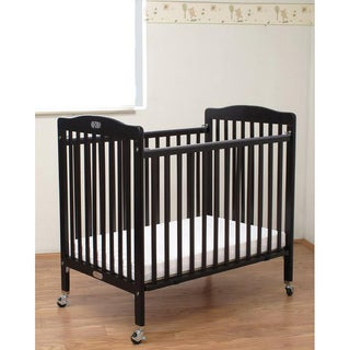 Folding Cherry Wooden Compact Crib with 3-inch Mattress