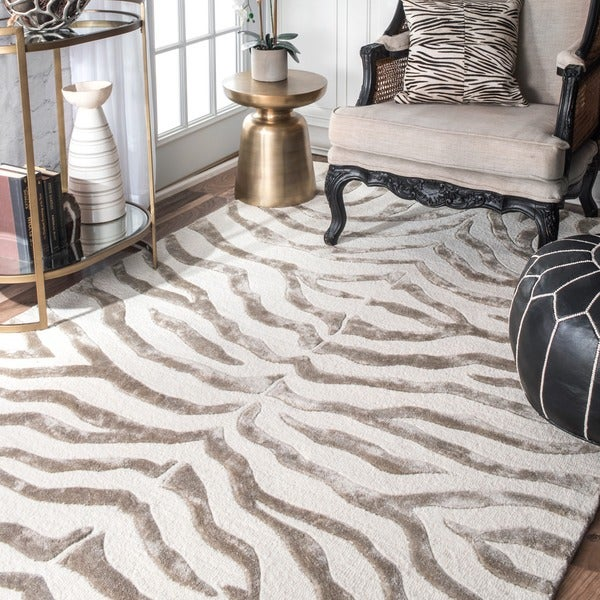 Shop Nuloom New Zealand Faux Silk Zebra Rug 7 6 Quot X 9 6
