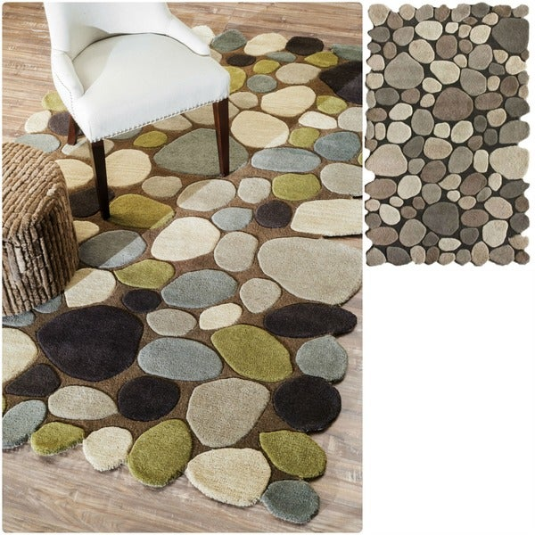 nuLOOM Hand-carved Stones and Pebbles Wool Rug (3'6 x 5'6)