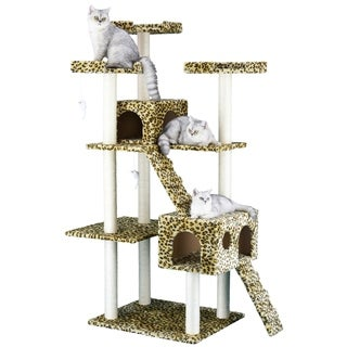 Go Pet Club Wood/Faux-fur 72-inch Leopard Print Condo Cat Tree