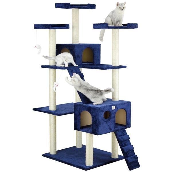 Go Pet Club Blue 72-inch Colossal Condo Cat Tree