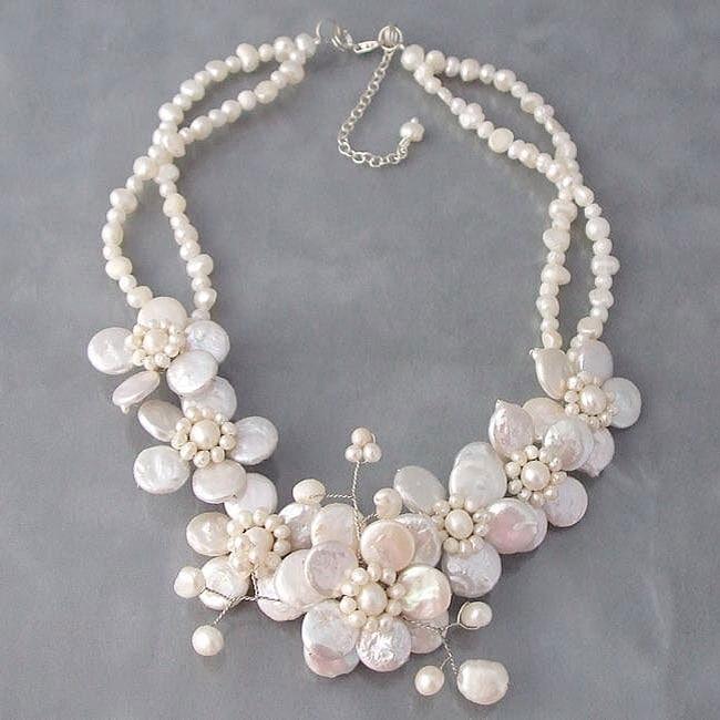 Handmade Pearl Cluster Sakura Flower Necklace (Thailand)