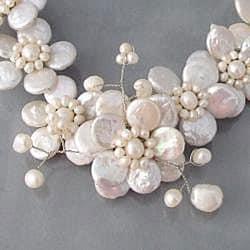 Handmade Pearl Cluster Sakura Flower Necklace (Thailand) - Thumbnail 1
