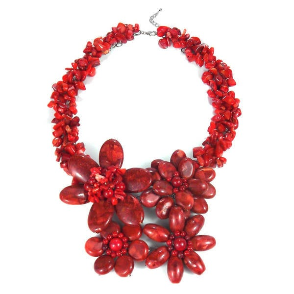 Handmade Sterling Silver Reconstituted Red Coral Flower Garland Necklace (Thailand)