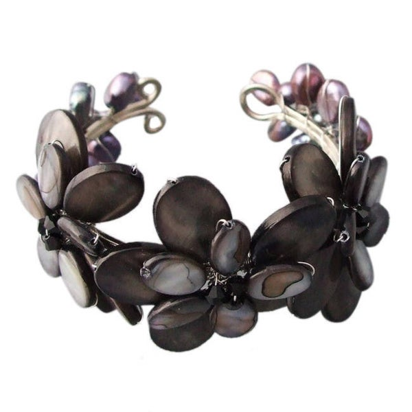 Handmade Mother of Pearl/ Abalone/ Pearl Flower Cuff Bracelet (Thailand)