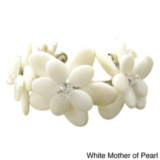 Mother of Pearl/ Abalone/ Pearl Flower Cuff Bracelet (Thailand)