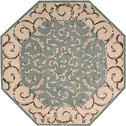 Nourison Hand-tufted Versaille Palace Aqua Rug (6 x 6) Octagon